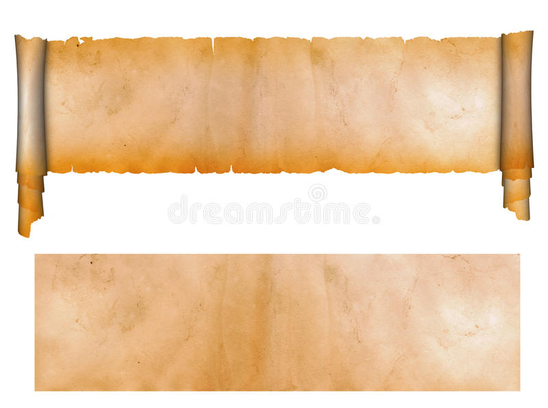 Scroll and sheet of old paper. stock images