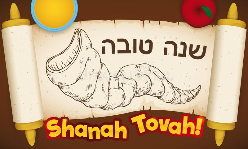 Scroll with Shofar Draw and Greetings for Jewish New Year, Vector Illustration. Banner with traditional scroll with hand drawn Shofar horn, an apple and honey to stock illustration