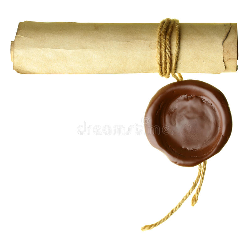 Scroll with wax seal. Isolated over a white background stock photography