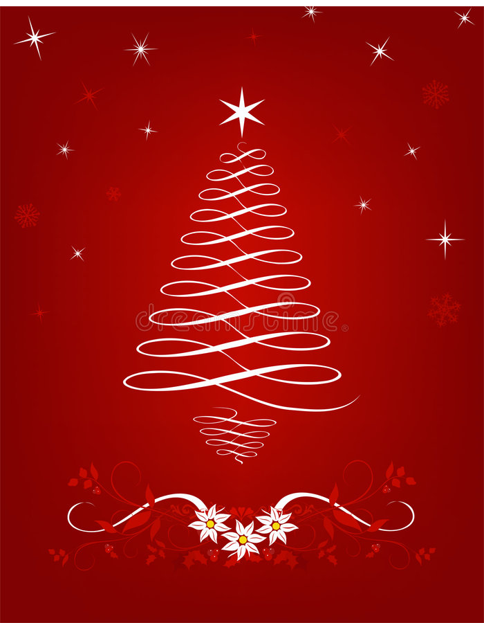 Free Scrolled Christmas Tree Royalty Free Stock Image - 3793306