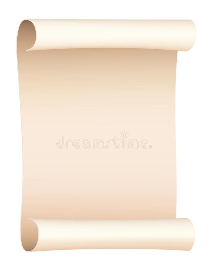Scrolled stary papieru prześcieradło odizolowywający na białym tle ilustracji