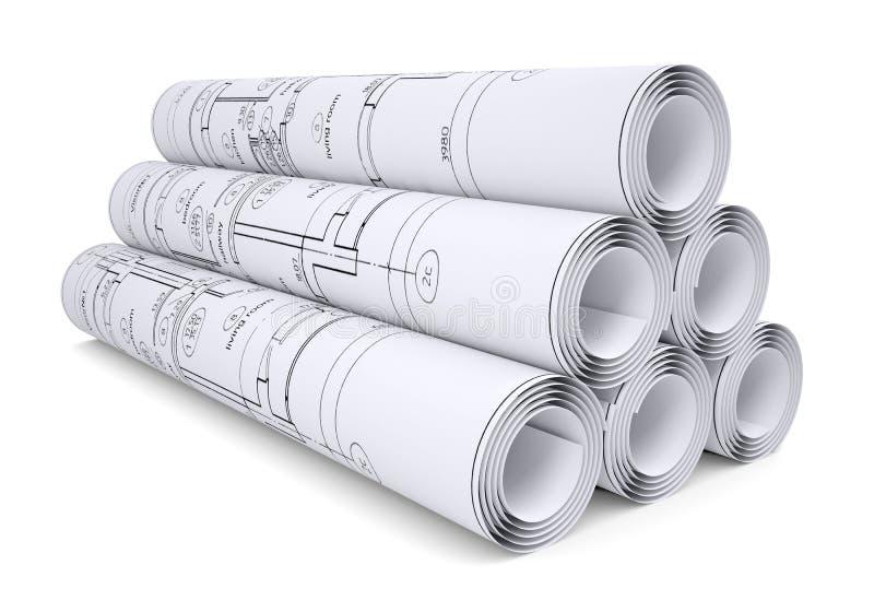 Scrolls of engineering drawings stock illustration