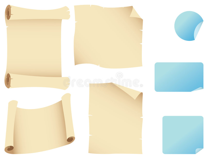 Download Scrolls and stickers stock vector. Image of burnt, parchment - 3947050