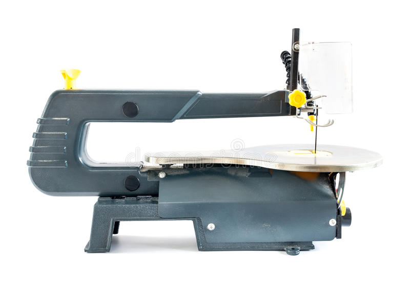 Scrollsaw on white background. Side view of scrollsaw shot on white background stock image