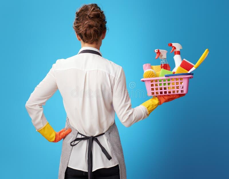 Scrubwoman mit Korb mit Reinigern und Bürsten auf Blau lizenzfreie stockfotos