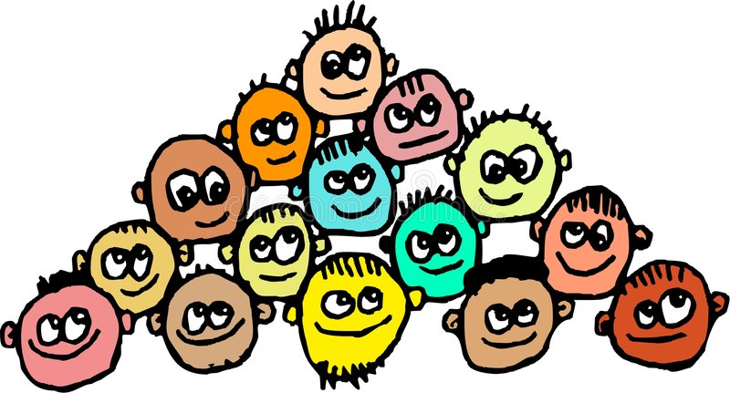 Scruffy crowd stock illustration