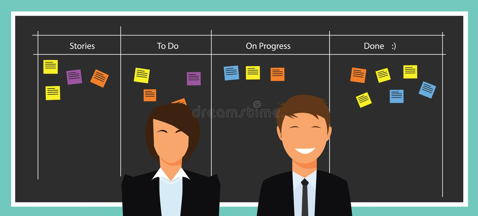 Scrum agile board royalty free illustration