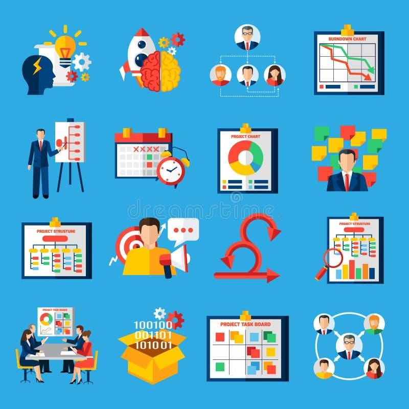 Scrum Agile Development Flat Icons Set royalty free illustration