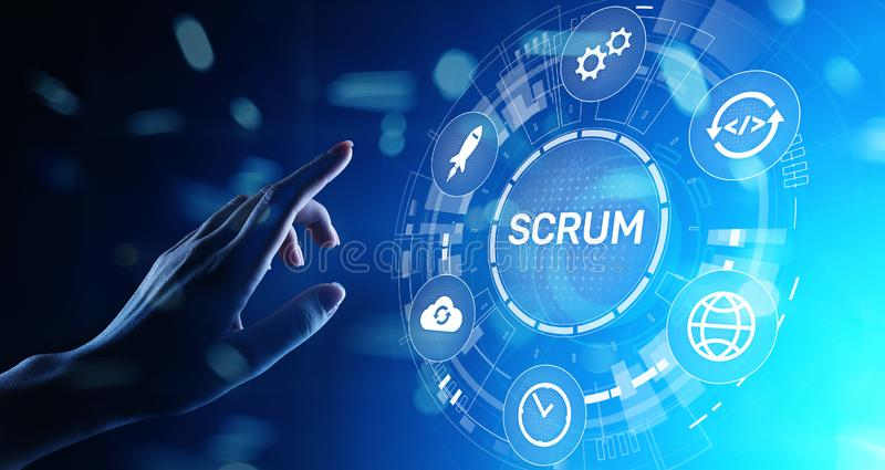 SCRUM, Agile development methodology, programming and application design technology concept on virtual screen. SCRUM, Agile development methodology, programming stock photography