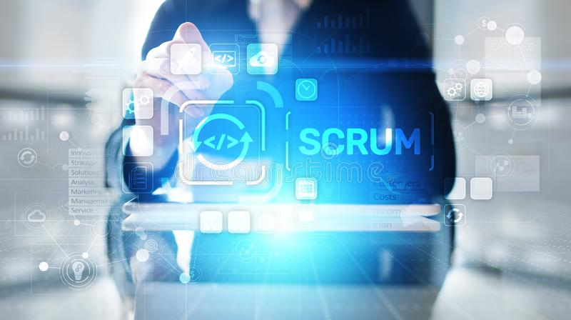 SCRUM, Agile development methodology, programming and application design technology concept on virtual screen. SCRUM, Agile development methodology, programming royalty free stock photo