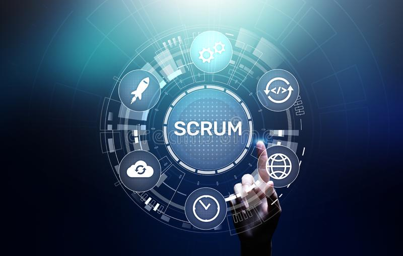 SCRUM, Agile development methodology, programming and application design technology concept on virtual screen. SCRUM, Agile development methodology, programming royalty free stock images