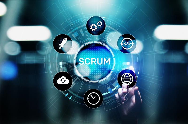 SCRUM, Agile development methodology, programming and application design technology concept on virtual screen. SCRUM, Agile development methodology, programming royalty free stock image