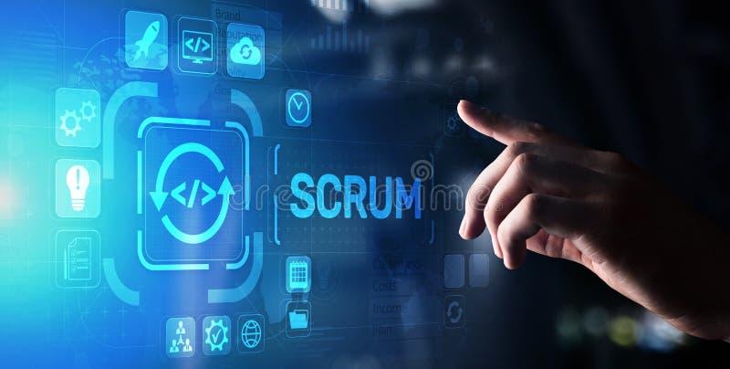 SCRUM, Agile development methodology, programming and application design technology concept on virtual screen. SCRUM, Agile development methodology, programming stock photos