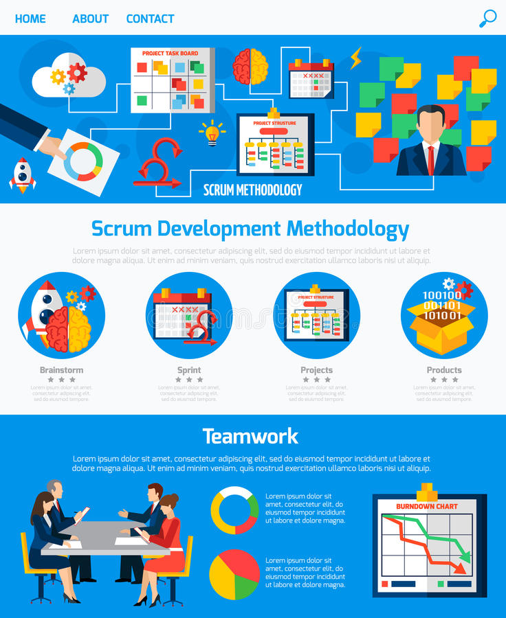 Scrum Agile Development Webpage Design. Scrum agile development methodology website one page design with process flowchart and teamwork concept abstract vector stock illustration