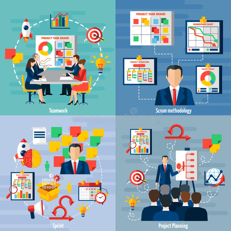 Scrum Agile 4 Flat Icons Square stock illustration
