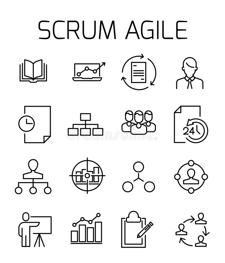 Scrum agile related vector icon set. royalty free illustration
