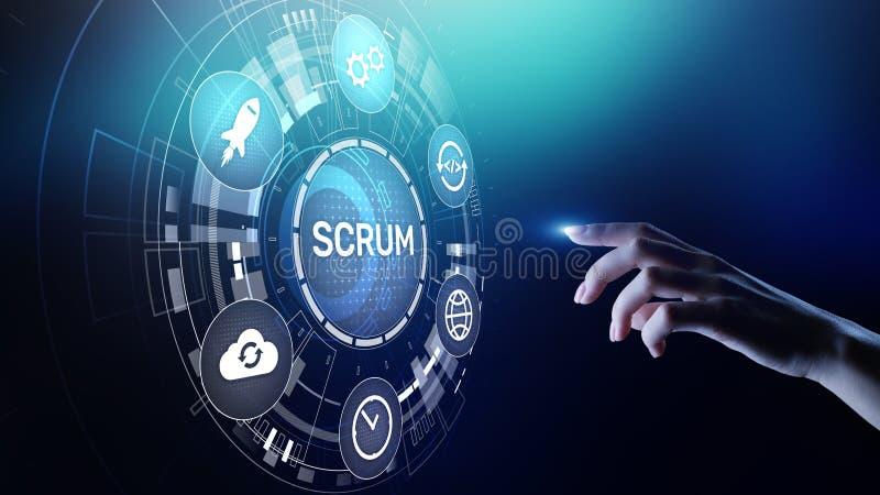 SCRUM, Behendige ontwikkelingsmethodologie, programmering en de technologieconcept van het toepassingsontwerp op het virtuele sch vector illustratie