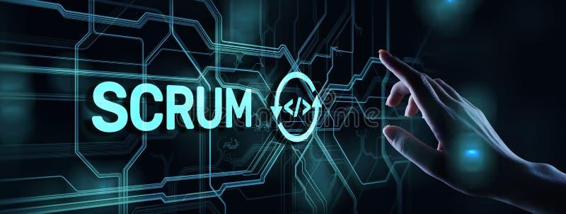 SCRUM, Behendige ontwikkelingsmethodologie, programmering en de technologieconcept van het toepassingsontwerp op het virtuele sch royalty-vrije illustratie