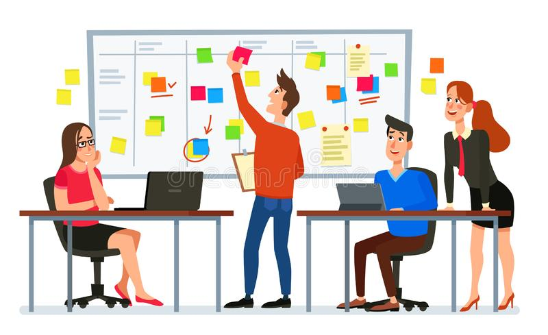 Scrum board meeting. Business team planning tasks, office workers conference and workflow plan flowchart cartoon vector. Scrum board meeting. Business team royalty free illustration