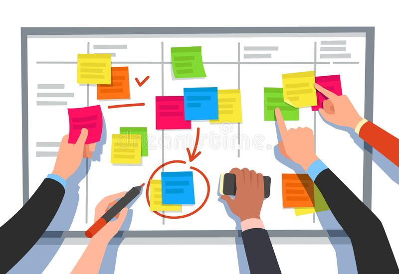 Scrum board. Task list, planning team tasks and collaboration plan flowchart. Business workflow scheme cartoon vector. Scrum board. Task list, planning team vector illustration