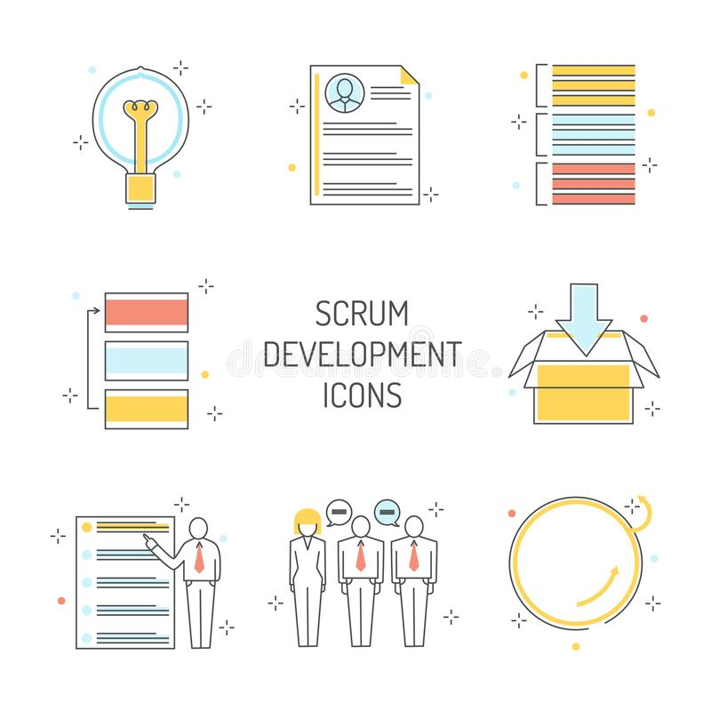 Scrum development icons set - agile methodology to manage project. royalty free illustration