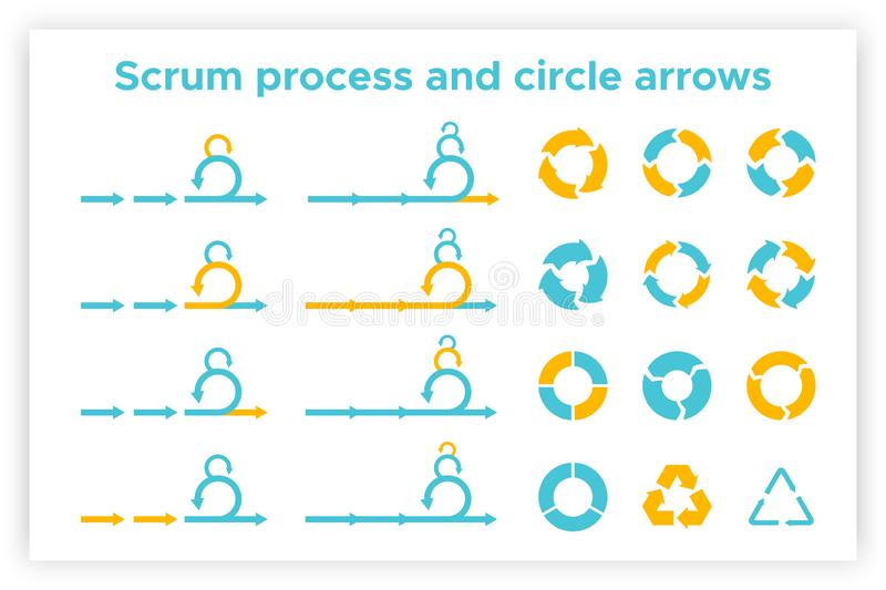 Scrum info graphic diagram element vector set royalty free illustration