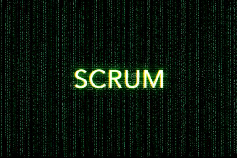 Scrum, keyword of agile, on a green matrix background royalty free stock images
