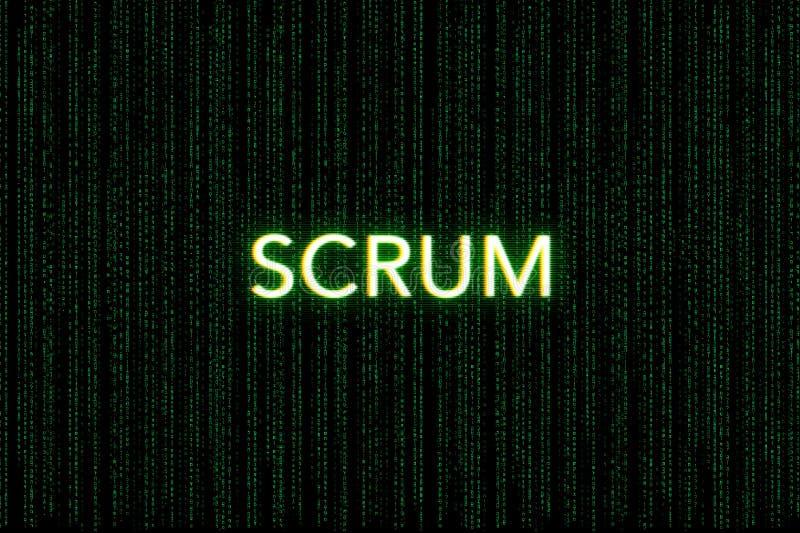 Scrum, keyword of agile, on a green matrix background. Development vector illustration