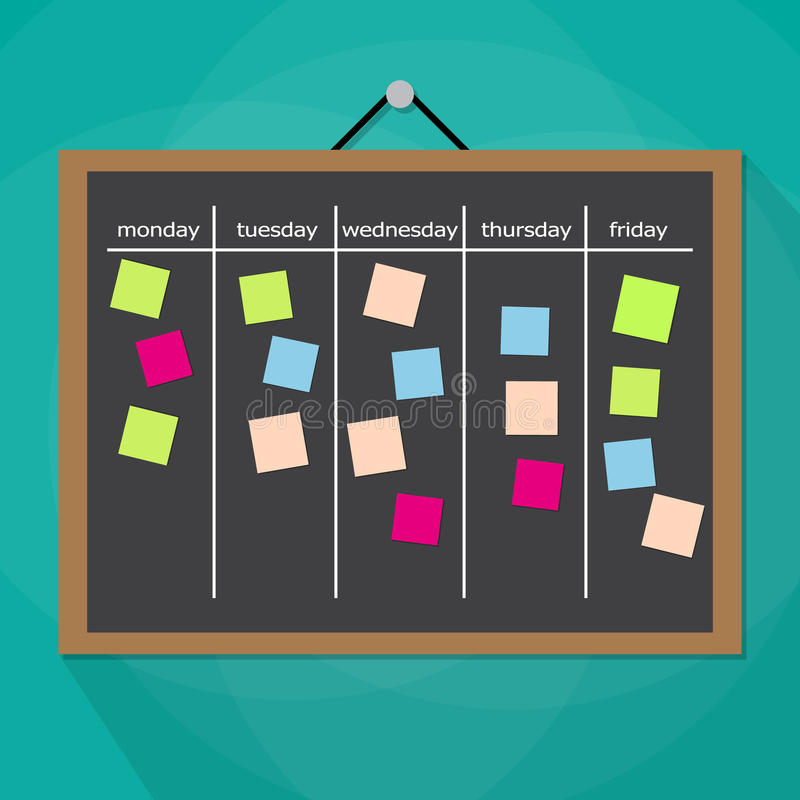 Scrum task board hanging on wall royalty free illustration