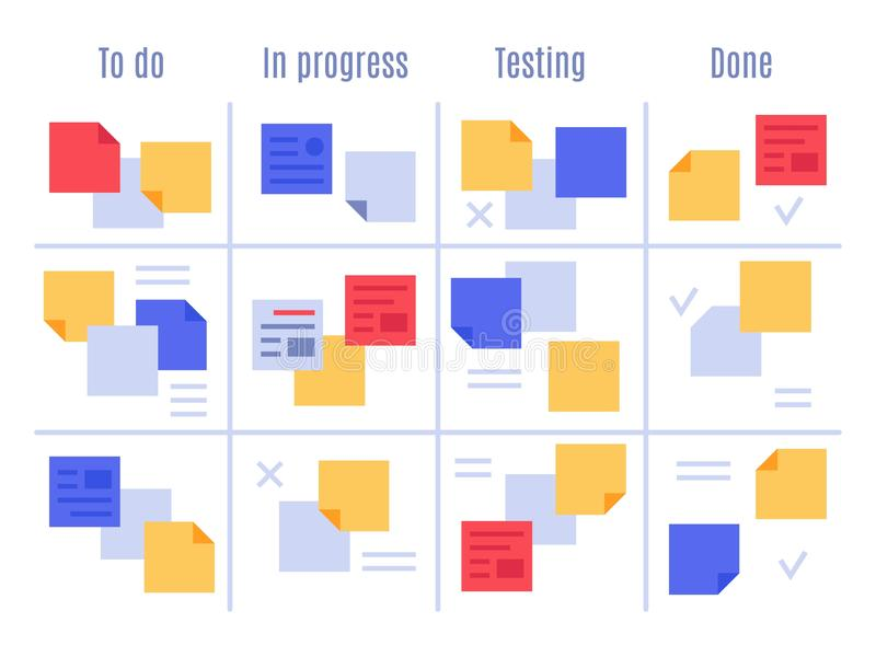 Scrum visual management board. Kanban office tasks, project process sticky note and planning notes vector illustration vector illustration