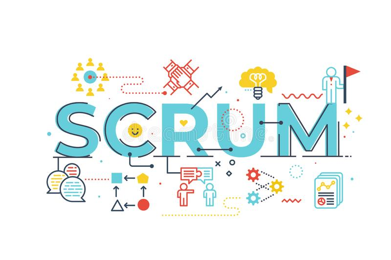Scrum word lettering illustration. With icons for web banner, flyer, landing page, presentation, book cover, article, etc royalty free illustration