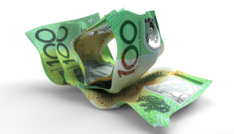 Scrunched Up Australian Dollar Notes. A group of three scrunched up creased australian dollar banknotes on an isolated white background royalty free stock photo