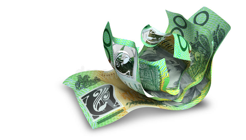 Scrunched Up Australian Dollar Notes. A group of three scrunched up creased australian dollar banknotes on an white background stock photos
