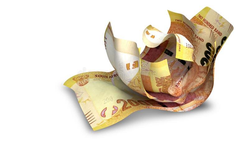 Scrunched upp söder - afrikan Rand Notes royaltyfria bilder