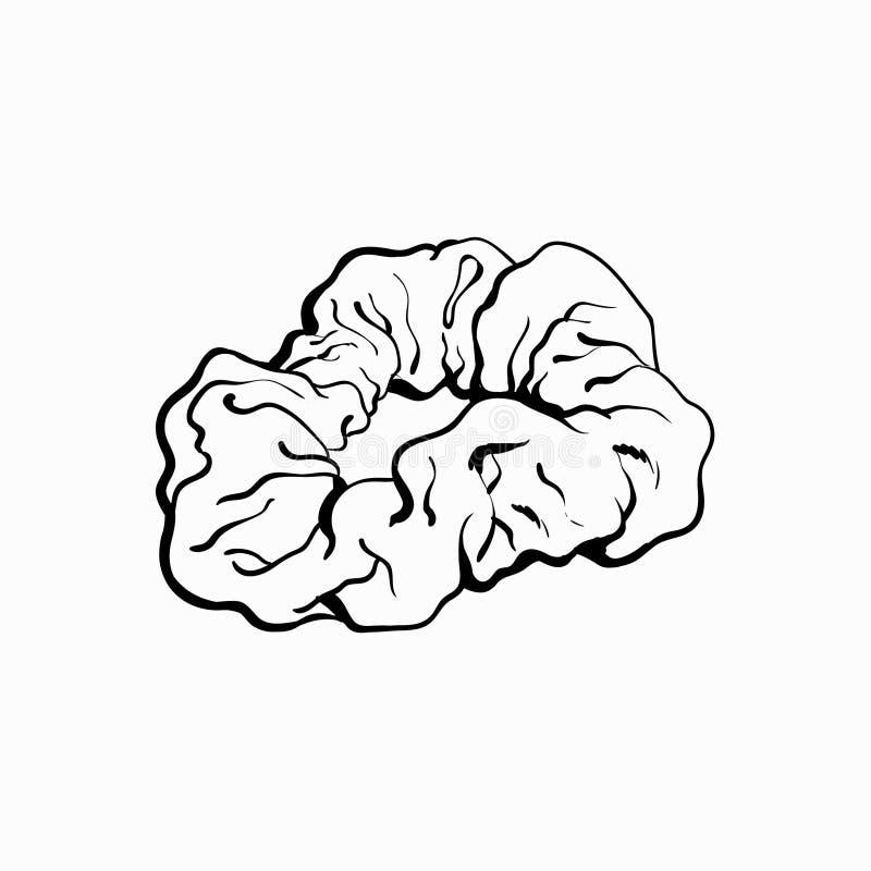 Scrunchy, lien couvert de tissu élastique de cheveux, accessoire de mode de 90s illustration libre de droits