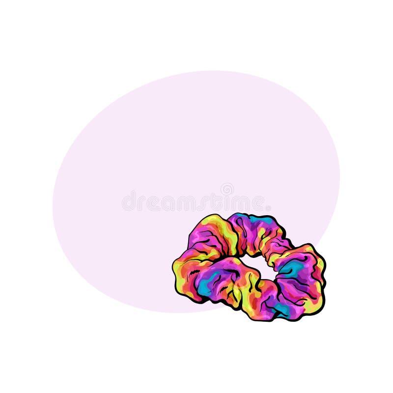 Scrunchy, a tela elástica cobriu o laço do cabelo, acessório de forma de 90s ilustração do vetor