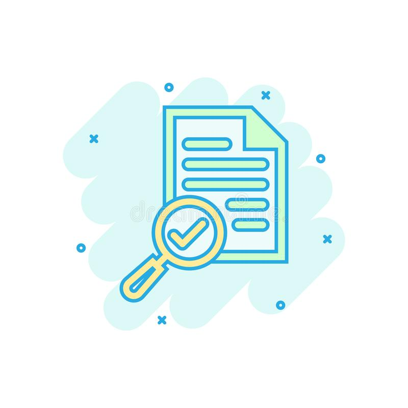 Scrutiny document plan icon in comic style. Review statement vector cartoon illustration pictogram. Document with magnifier loupe vector illustration