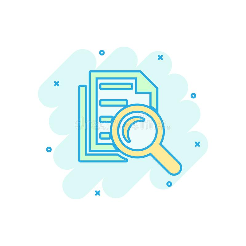 Scrutiny document plan icon in comic style. Review statement vector cartoon illustration pictogram. Document with magnifier loupe stock illustration