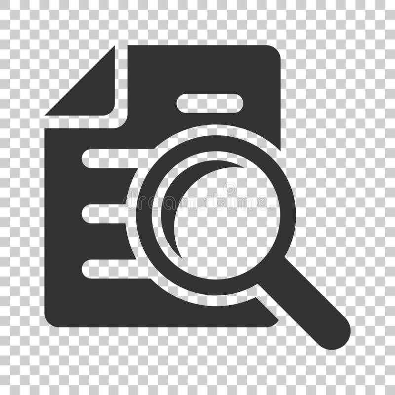 Scrutiny document plan icon in flat style. Review statement vector illustration on isolated background. Document with magnifier l royalty free illustration