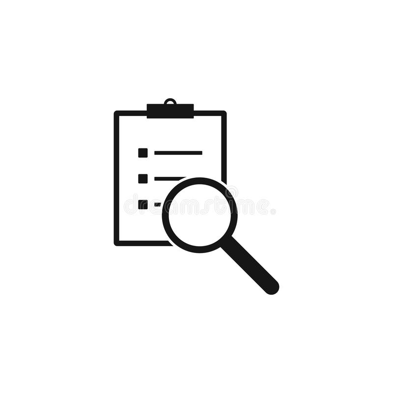 Scrutiny document plan icon in flat style. Review statement vector illustration on white isolated background. Document vector illustration