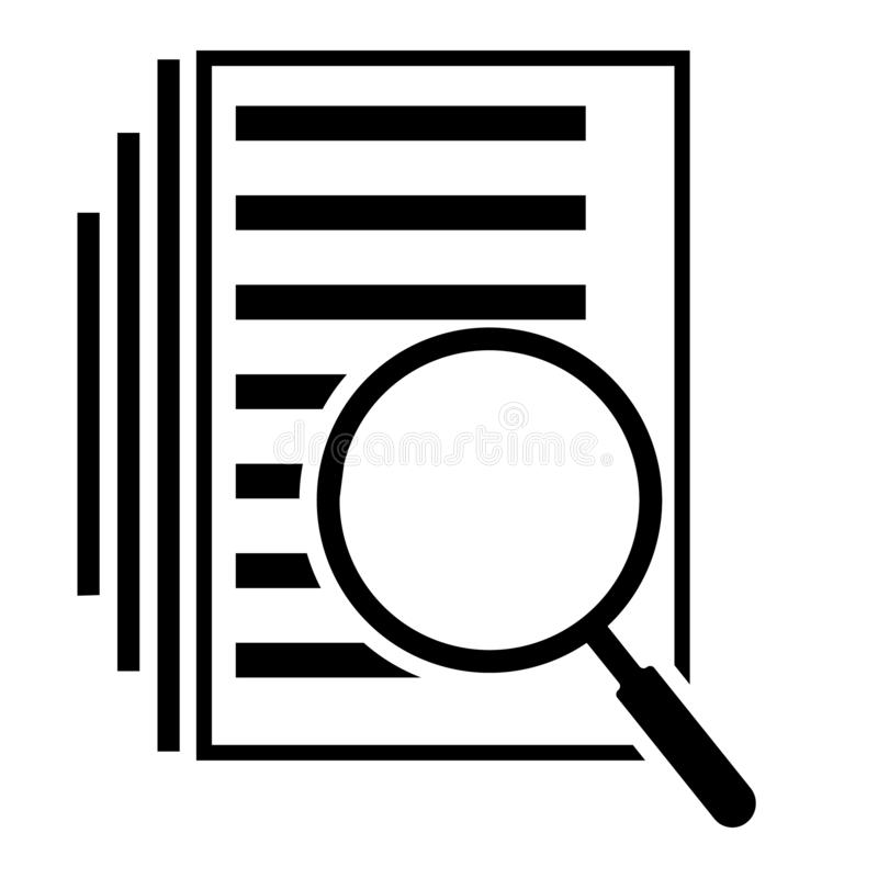 Scrutiny document plan icon in flat style. Review statement vector illustration on white isolated background. Document with magnif stock illustration