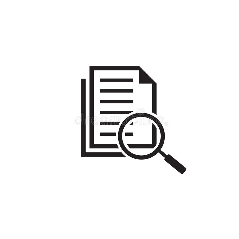 Scrutiny document plan icon in flat style. Review statement vector on white isolated background. Document with magnifier stock illustration