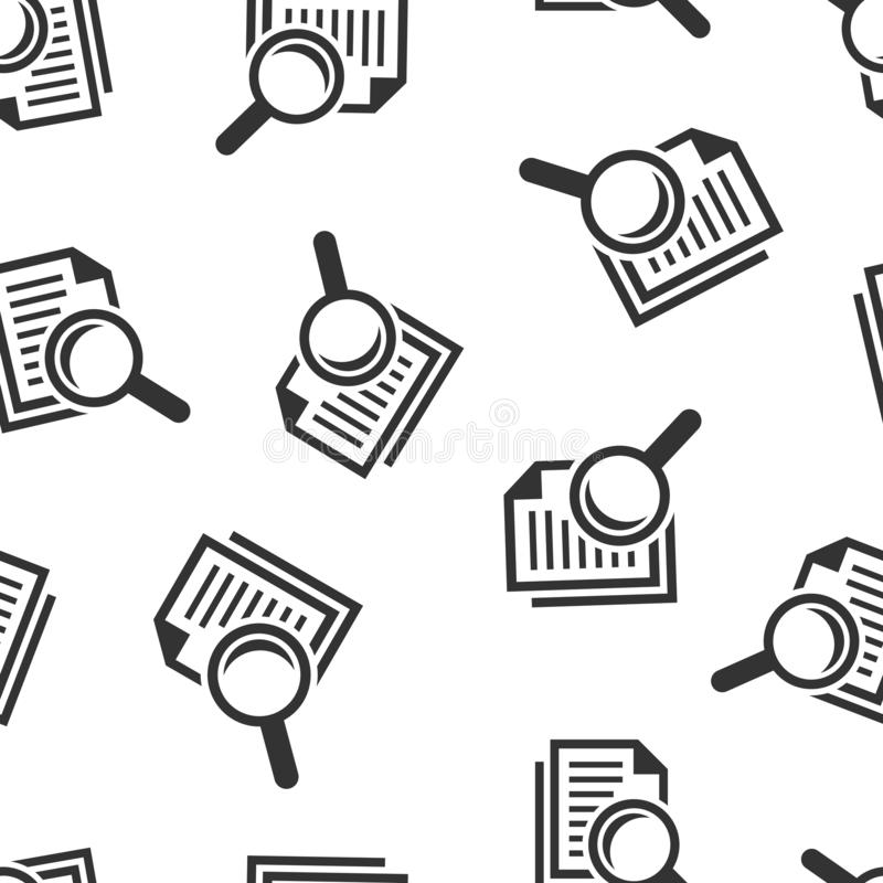 Scrutiny document plan icon seamless pattern background. Review statement vector illustration. Document with magnifier loupe royalty free illustration