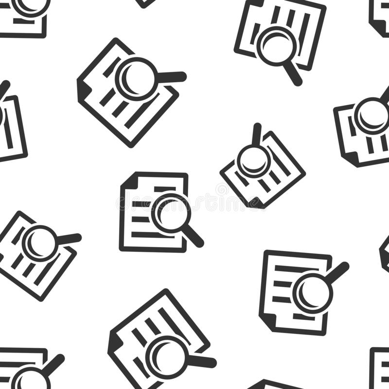Scrutiny document plan icon seamless pattern background. Review statement vector illustration. Document with magnifier loupe vector illustration