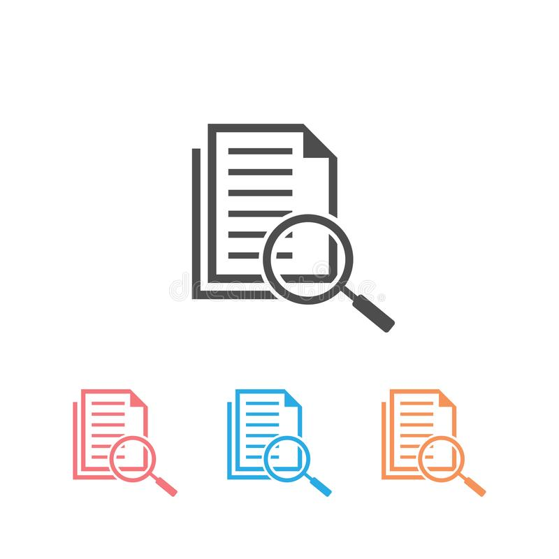 Scrutiny document plan icon set in flat style. Review statement vector illustration on white isolated background vector illustration