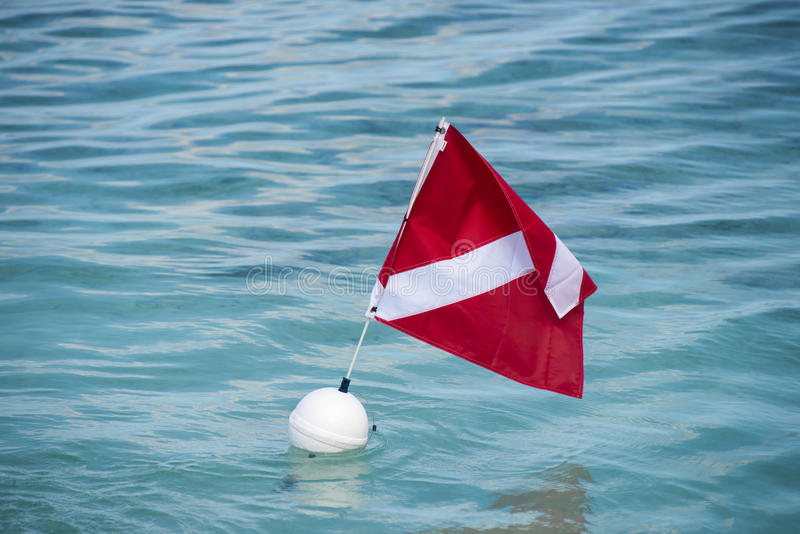 Scuba dive buoy with flag in tropical water royalty free stock photos