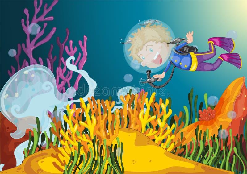 Scuba diver. Boy diving observes huge jellyfish vector illustration