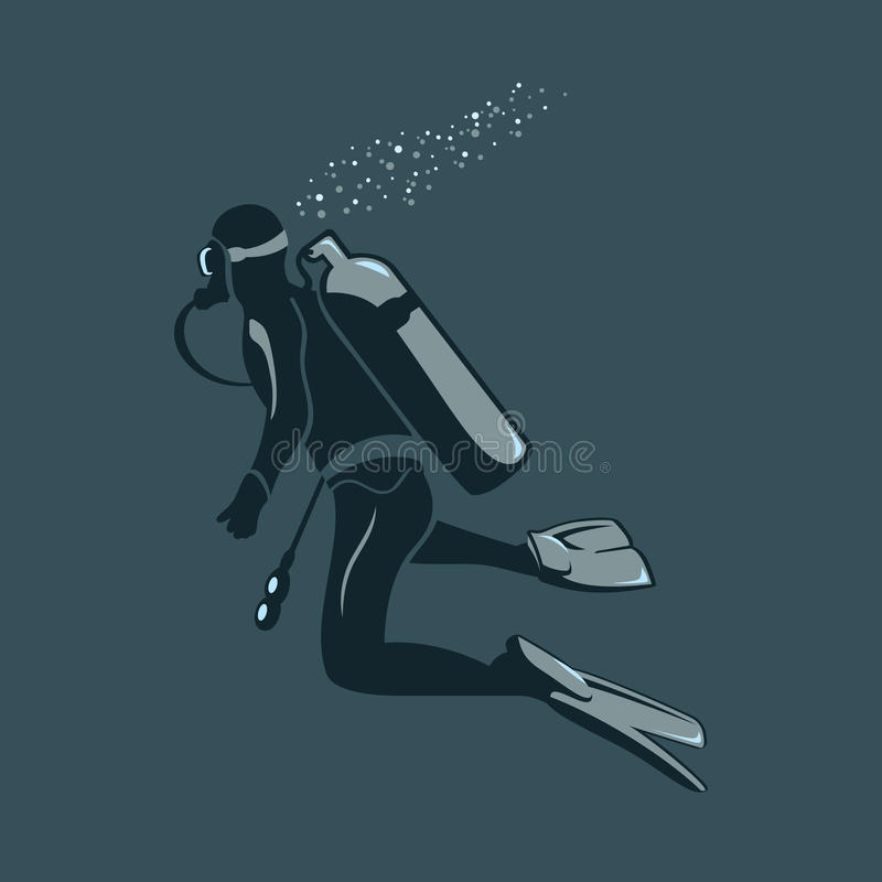 Scuba diver. Into the deep ocean waters royalty free illustration