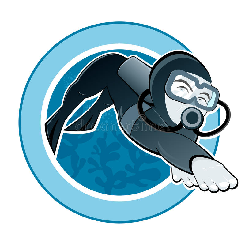 Scuba diver. Illustration of a scuba diver wearing a wetsuit whilst swimming underwater stock illustration