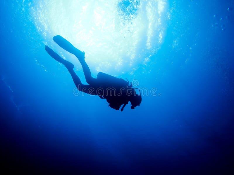 Scuba Diver. S Silhouette in clear blue sea stock photo